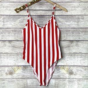 Divided | Vertical Red Stripes V-Neck Bodysuit